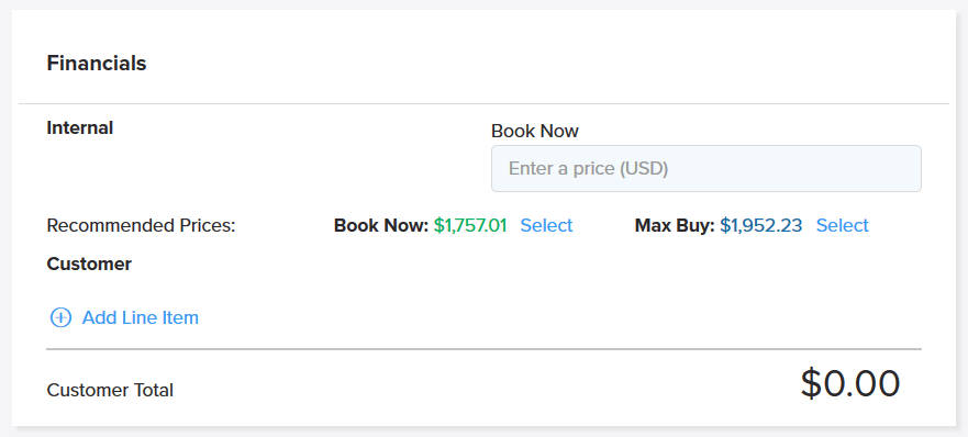 Image of Max Buy and Book Now prices on the Shipwell Platform.